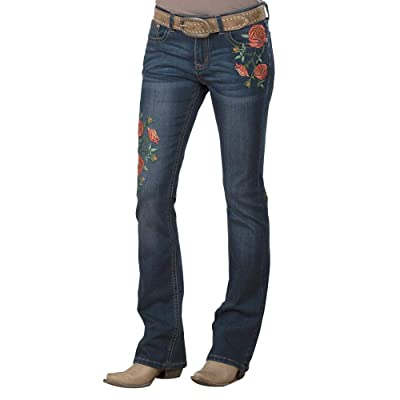 Grace in LA Women's Easy Fit Rambling Rose Relaxed Fit Boot Cut Denim Jeans EB-81218 Medium Blue Wash at Women's Jeans store