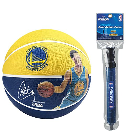 Spalding NBA Stephen Curry Player Basketball with Dual Action Pump by Spalding