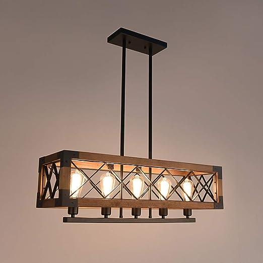 Ladiqi 5 Lights Rustic Chandelier Wooden Hanging Pendant ...
