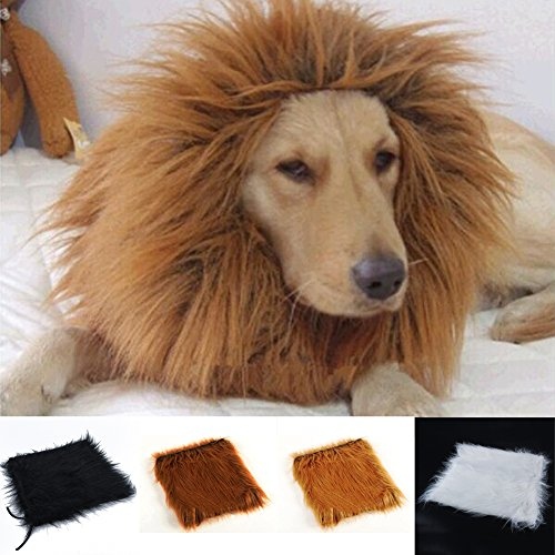 (YuYe Pet Costume Lion Mane Wig for Dog Halloween Clothes Festival Fancy Dress Up - Light Brown)