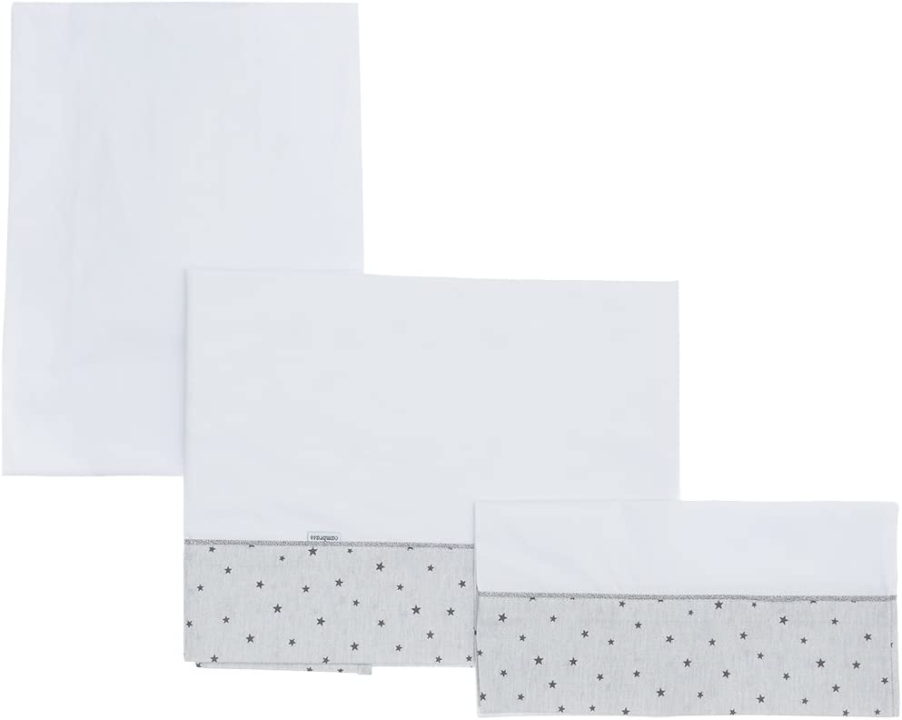 Cambrass Stela - Sábanas para capazo, 3 piezas, 80 x 120 cm, color gris