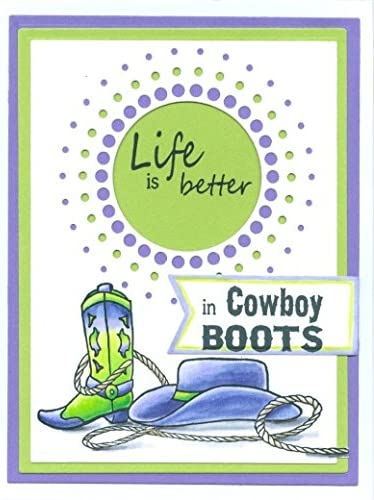 Better in Cowboy Boots Greeting Rubber Stamp by DRS Designs Rubber Stamps