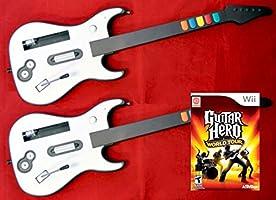 Nintendo Wii/Wii-U Guitar Hero World Tour Game + 2 Wireless GUITAR Controllers Double Bundle Set Kit