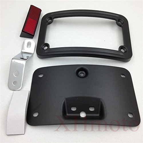 HTT Motorcycle Black Laydown Curved License Plate Bracket Tag Holder w/ Mount Kit For Harley Davidson 2005-2007 Softail Springer Classic FLSTSC/ 2005-2017 Softail Deluxe FLSTN Curved Laydown License Plate Mount