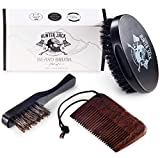 Beard Brush & Comb Kit for Men (3pc) - Great for Beard Grooming, Beard Care & Mustache, Styling and Distributing Oil - 100% Wild Boar Bristles - Comes with'Hunter Jack' Gift Box - Free eBook