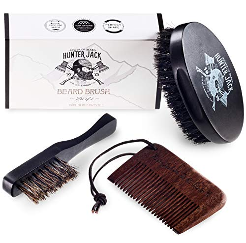 "Beard Brush & Comb Kit for Men (3pc) – Great for Beard Grooming, Beard Care & Mustache, Styling and Distributing Oil – 100% Wild Boar Bristles – Comes with""Hunter Jack"" Gift Box – Free eBook"