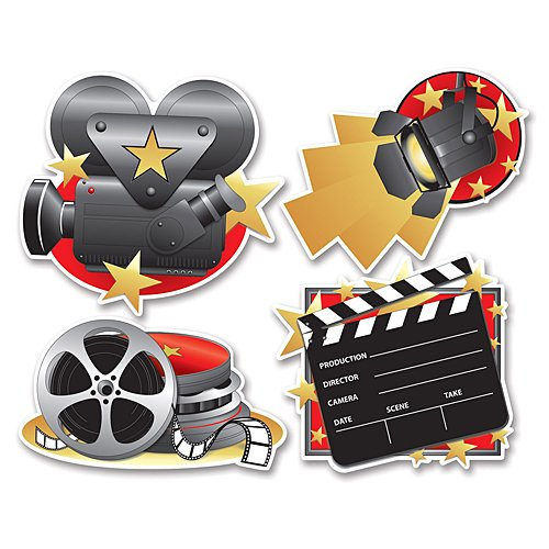 Beistle 54155 4-Pack Movie Set Cutouts, 16-Inch