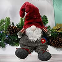 Houwsbaby Handmade Gnome Figurines Plush Swedish Tomte Nisse Christmas Santa Claus Elf Home Desktop Collectible Doll Stuffed Decor Holiday Party Supplies Table Ornament, Red, 23
