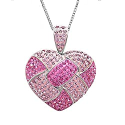 Sterling Silver Pink Crystal Heart Pendant with Swarovski Elements