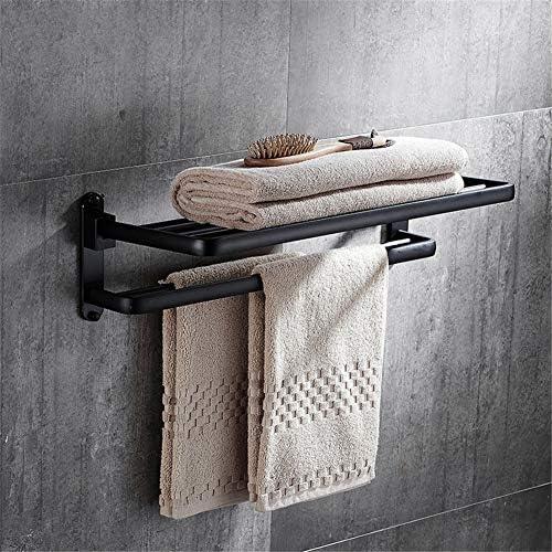 タオルラックスペースのアルミ黒タオルラックレトロ活動タオルラックバスルーム無料のパンチングタオルバーの浴室の付属品,B