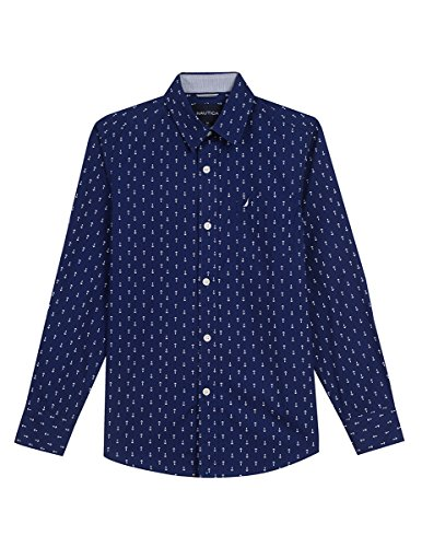 Nautica Boys' Toddler Long Sleeve Printed Woven Shirt, Retro Blue Anchors, 3T