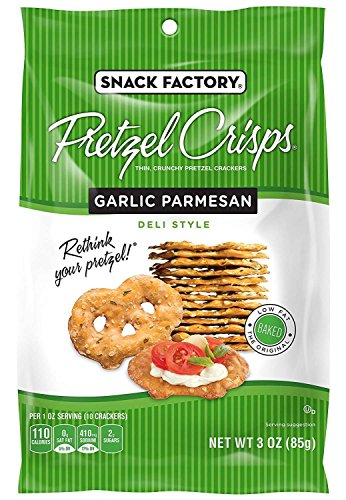 Snack Factory Pretzel Crisps, Garlic Parmesan, 3 Ounce (Pack of 8)