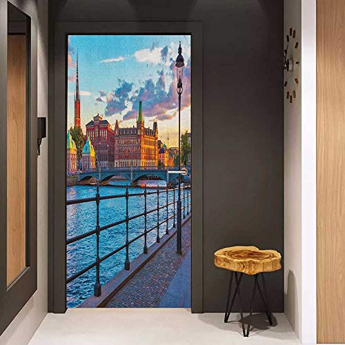 (Onefzc Soliciting Sticker for Door Cityscape Scandinavian Stockholm Old Town Sweden by Lake Gamla Stan View Autumn Day Scenery Mural Wallpaper W38.5 x H77 Multicolor )