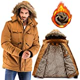 Yozai Mens Winter Military Warm Jacket Fleece Coat with Fur Hood Mustard Yellow