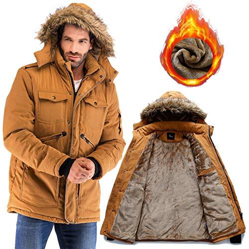- Yozai Mens Winter Military Warm Jacket Fleece Coat with Detachable Fur Hood Outwear Mustard Yellow X-Large