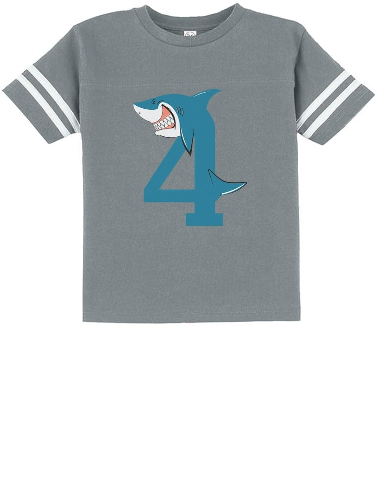 TeeStars – 4th Birthday Shark Party Gift for 4 Year Old Toddler Jersey T-Shirt