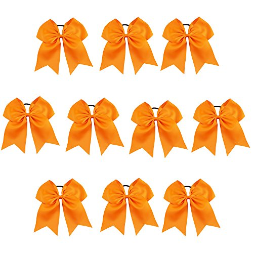 ith Ponytail Holder for Cheerleading Girl Pack of 10 Tangerine 7INCH (Orange Team Color)