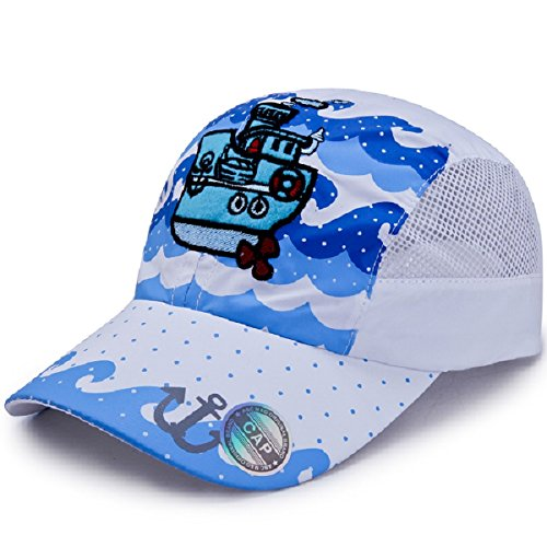 Price comparison product image LLmoway Outdoor Kids Boys Summer Baseball Cap UPF50+ Sun Protection Mesh Running Hat Quick Dry White