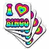 3dRose Groovy Hippie Rainbow I Heart Love Bingo - Soft Coasters, Set of 8 (CST_217357_2)
