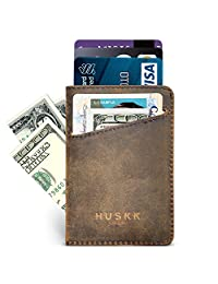 Slim Front Pocket Leather Wallet for Men Card Holder Up to 8 Cards & Cash HUSKK (Dark Brown[CSC-DBCH-RFID])