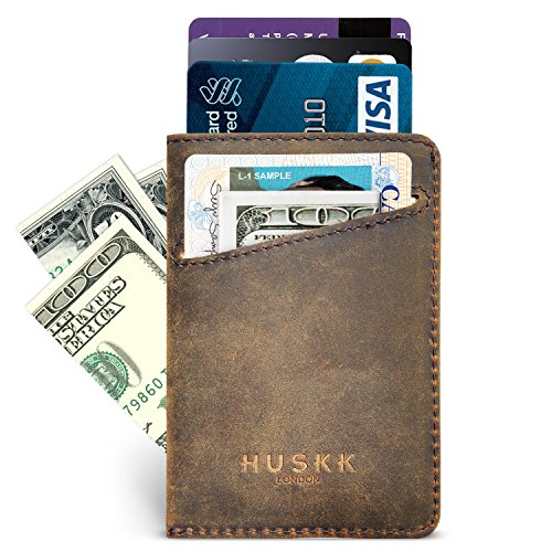 Men Wallet - RFID Minimalist Slim Front Pocket Card Travel Holder Clip (One Size, Dark Brown Crazy Horse Leather - Sleeve Leather Card