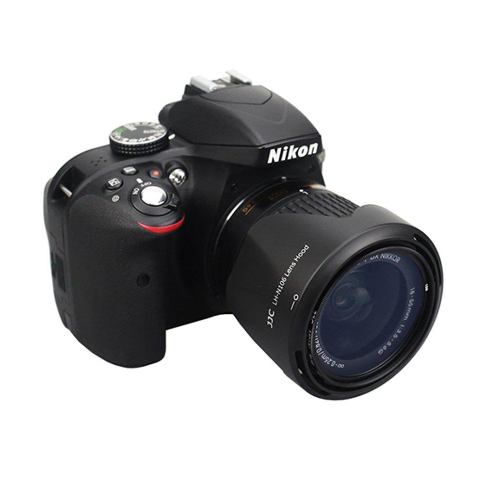 JJC HB-N106 Reversible Dedicated Lens Hood Shade for Nikon AF-P DX Nikkor 18-55mm f//3.5-5.6G VR,Nikon AF-P DX Nikkor 18-55mm f//3.5-5.6G Lens on Nikon D3500 D3400 D5600 Camera