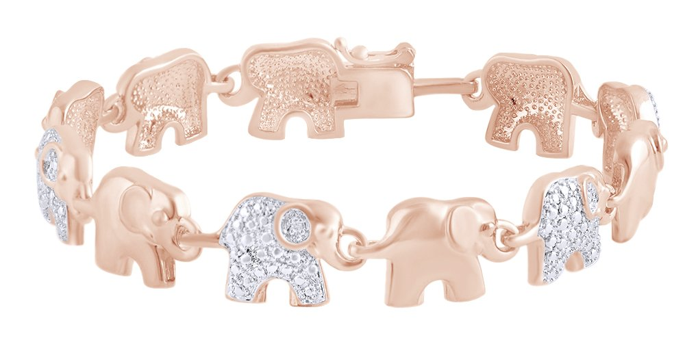 Round Shape White Natural Diamond Elephant Link Tennis Bracelet In 14k Rose Gold Over Sterling Silver (0.02 cttw) - 7.5''