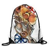 Weiding Reversible Double Up Down Leon And Rabbit Figures With Mandala Cosmos Pattern Drawstring Gym Sack Sport Bag For Men And Women