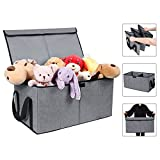 Collapsible Toy Chest Box Large Baby Toy Storage Basket with Flip-Top Lid and Handles 2 Section Waterproof Kids Toys organizer Sorter for Nursery , Home Organization, Closets, Playroom ( L, Grey )