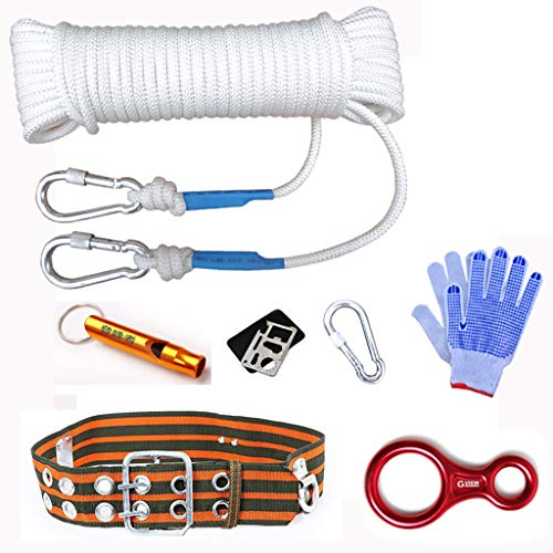 QARYYQ Climbing Rope Fire Rope Escape Lifeline Inside Wire Rope Diameter 8mm White Ropes (Size : 10M)
