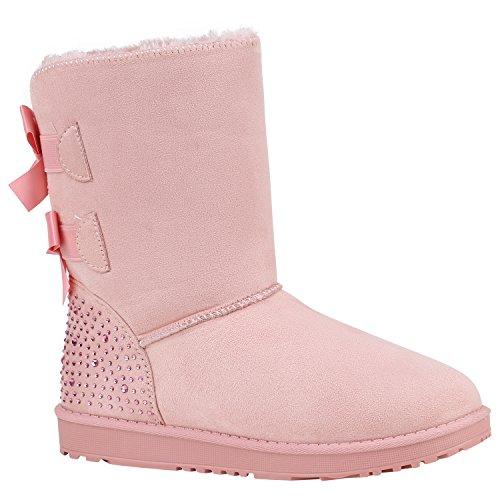 Warm Gefütterte Boots Schlupfstiefel Strass Blumen Schleifen Pailletten Schuhe Kunstfell Stiefel Nieten Booties Winterstiefel Flandell Rosa Camiri