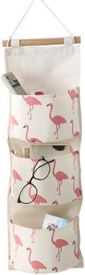 HENGSONG Flamingo Hanging Storage Bag Cotton Linen Wall Door Closet Wall Storage Organiser with 3 Pockets Green