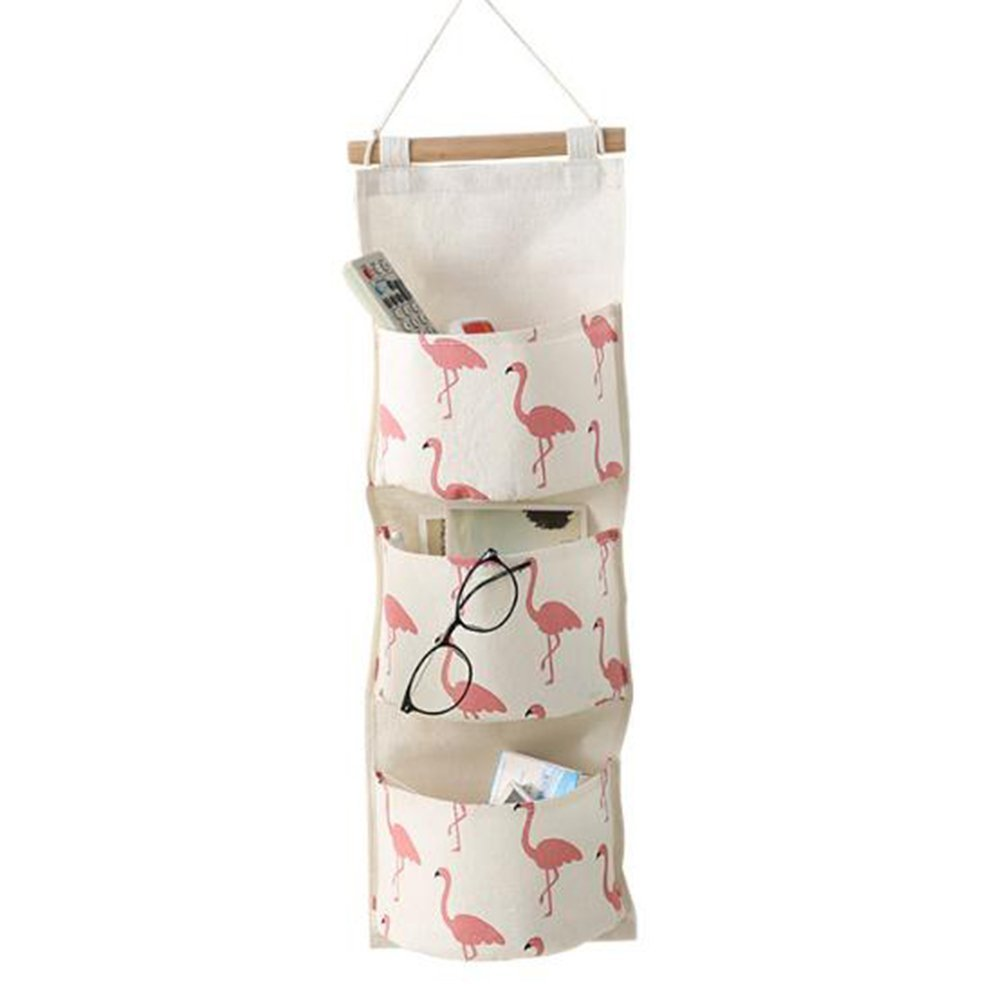 "D&&R Flamingo Hanging Storage Bag Wall Door Closet Wall Organiser with 3 Pockets Cotton Linen Wall Pockets for Gadget Makeup Toys by, 27.95""x5.12"