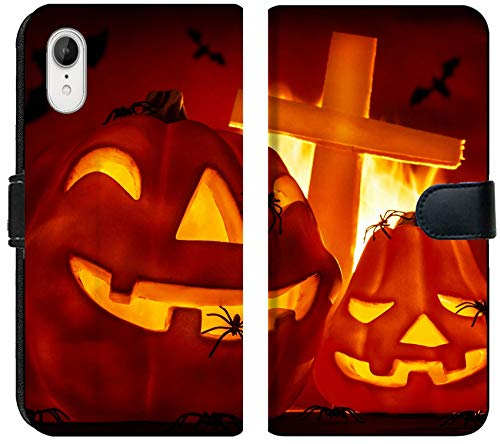 Liili Premium iPhone XR Flip Micro Fabric Wallet Case Glowing Carved Gourd in The Hell Burning fire Creepy Cross on Grave Terrible Flying bat misterious Image ID