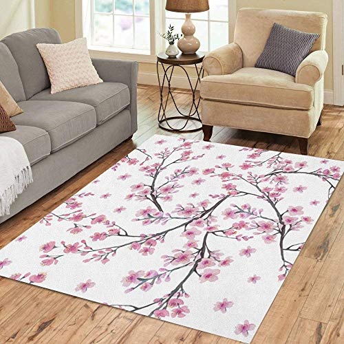 (Pinbeam Area Rug Green Branch of Cherry Blossom Flowers Watercolor Painting Home Decor Floor Rug 2' x 3' Carpet)