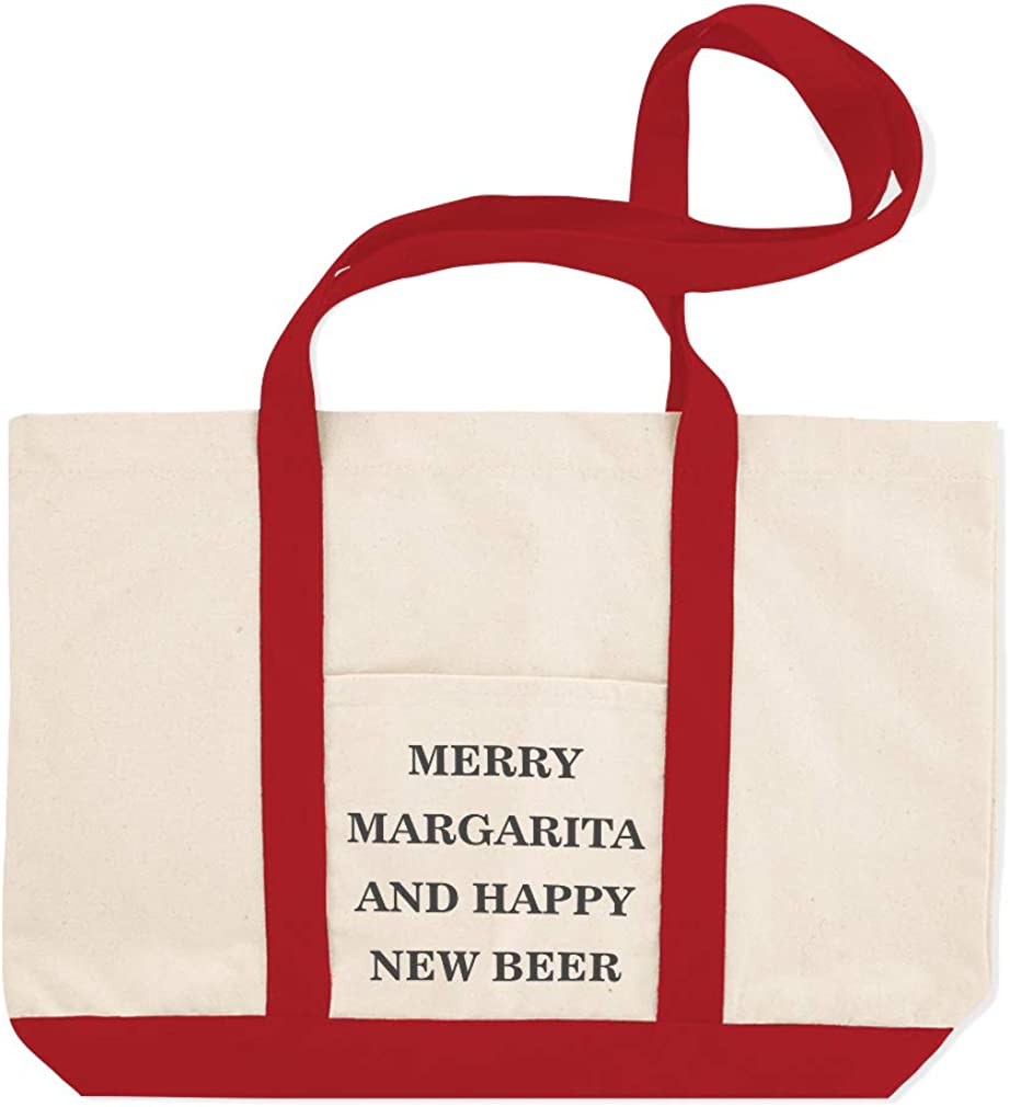 Canvas Shopping Tote Bag Merry Margarita and Happy New Beer Merry Margarita Beach for Women