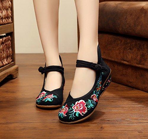 XHX Zapatos bordados, lino, lenguado, estilo étnico, zapatos femeninos, moda, cómodo, doble fondo Black