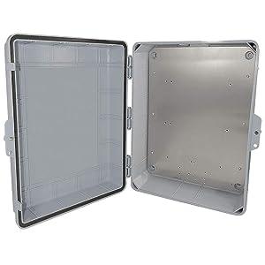 "Altelix NEMA Enclosure 17x14x6 (14"" x 9"" x 4.5"" Inside Space) Polycarbonate + ABS Weatherproof with Aluminum Equipment Mounting Plate"