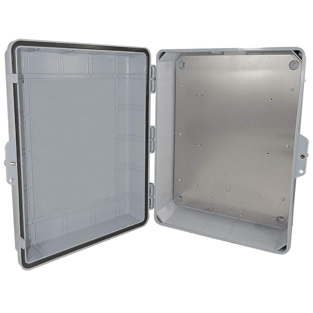 Altelix NEMA Enclosure 14'' x 9'' x 4.5'' Inside Space Polycarbonate + ABS Weatherproof with Aluminum Equipment Mounting Plate