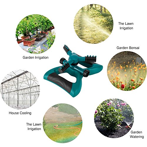 Sprinkler, Lawn Sprinklers Oscillating Water Irrigation Sprayer for Garden with Automatic 360 Rotating Head, Triple Arms & Easy Connection - Hose Sprinkler for Yard & Patio by Joygardin (Image #6)