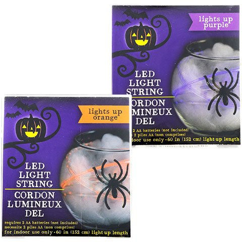 Jack O Lantern Scary Spooky Creepy Halloween Party Indoor Outdoor Decoration Decorations Decor Haunted House Battery-Operated Halloween LED Light Strings, 5 ft. BUNDLE OF 2 Orange/Purple