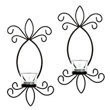 "Hosley Set of 2 Iron Tea Light Candle Wall Sconces- 11.5"" High. Ideal Gift for Spa, Aromatherapy, wedding. Hand made by Artisans"