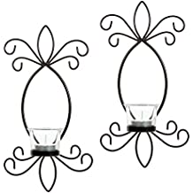 """Hosley Set of 2 Iron Tea Light LED Candle Wall Sconces- 11.5"""" High. Ideal Gift for Spa, Aromatherapy, Wedding, LED Tealight Candle Garden. Hand Made by Artisans O4"""