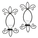 Hosley Set of 2 Iron Tea Light LED Candle Wall Sconces- 11.5'' High. Ideal Gift for Spa, Aromatherapy, Wedding, LED Tealight Candle Garden. Hand made by Artisans O4