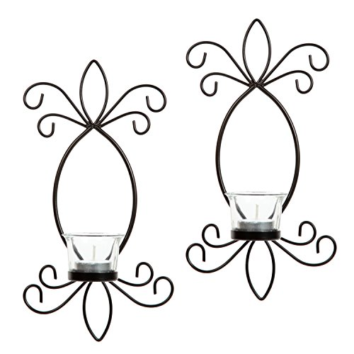 Hosley Set of 2 Iron Tea Light LED Candle Wall Sconces- 11.5