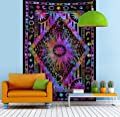 Jaipur Handloom Psychedelic Celestial Sun Moon Tapestry Planet Bohemian Tapestry/Wall Hanging Dorm Decor Boho Tapestry/Hippie Hippy Tapestry Beach Coverlet Curtain