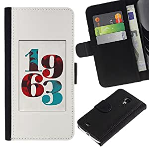 ZCell / Samsung Galaxy S4 Mini i9190 / 1963 Born Poster Vintage Year Number / Caso Shell Armor Funda Case Cover Wallet / 1963 Born Póster