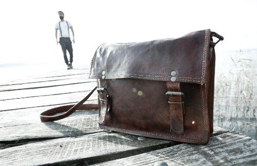 "11"" Retro Handmade Goat Leather Satchel Shoulder Ipad Bag Ss Satch&fable"