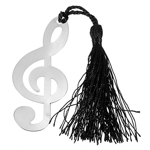 Alchik Musical Note Bookmarks w/Black Tassels Mini Metal Music Symbols and Trendy Greeting Cards | Graduation, Wedding, Birthday, Celebration Party Favors