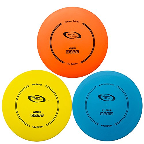 yikundiscs PDGA Approval Lite Eidition YIKUN Disc Golf Set 3 in 1|Includes Driver,Mid-Range and Putter Entry Level|165-176g|Perfect Outdoor Games,Family Games for Kids, Beginner and Professional by yikundiscs